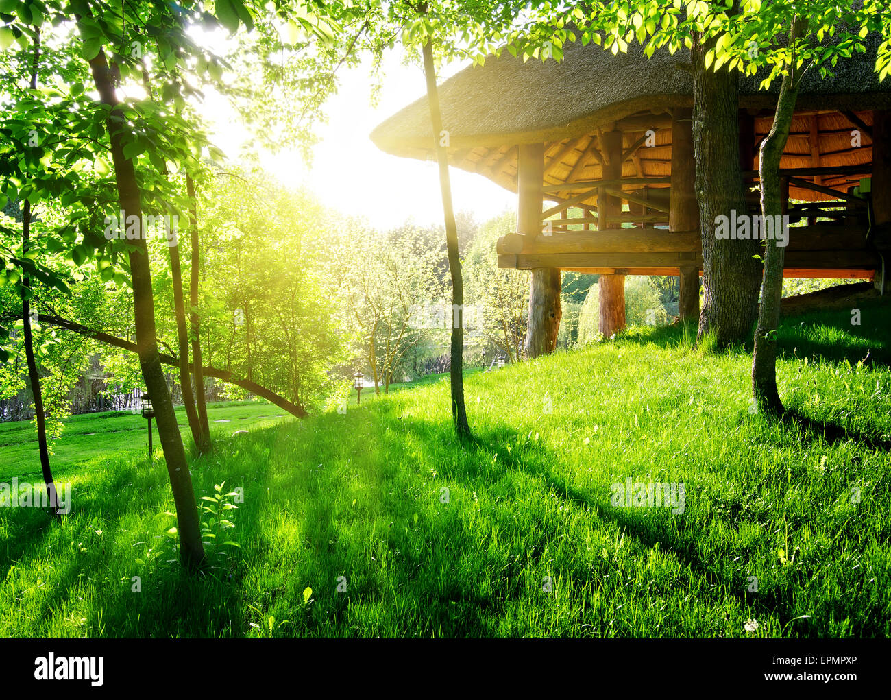 Pavillon zwischen den grünen Bäumen im sonnigen Tag Stockbild