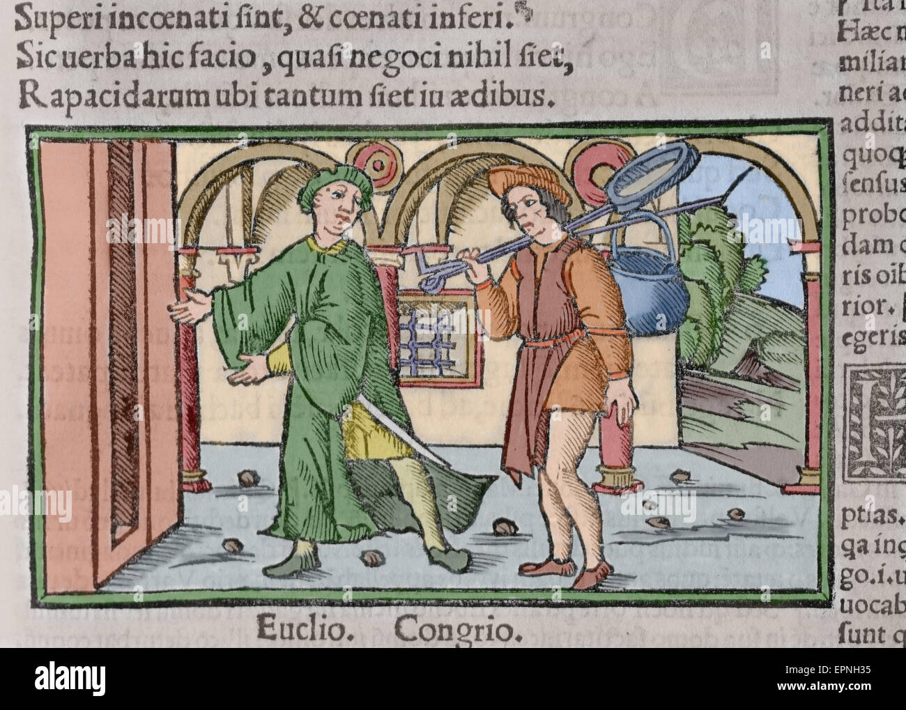 Titus Maccius Plautus (250-184). Lateinischer Dramatiker. Aulularia. Act I. Euclio und Congrio. Gravur. 1518. farbige. Stockbild