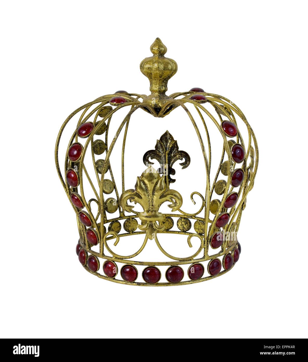 Roter Edelstein Embellished goldene Krone - Pfad enthalten Stockbild