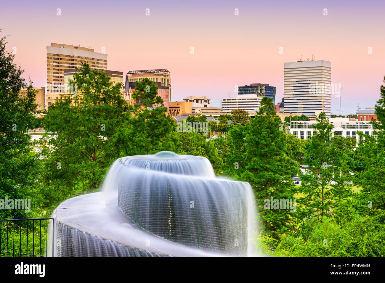 Columbia, South Carolina, USA Finlay Park Brunnen. Stockbild