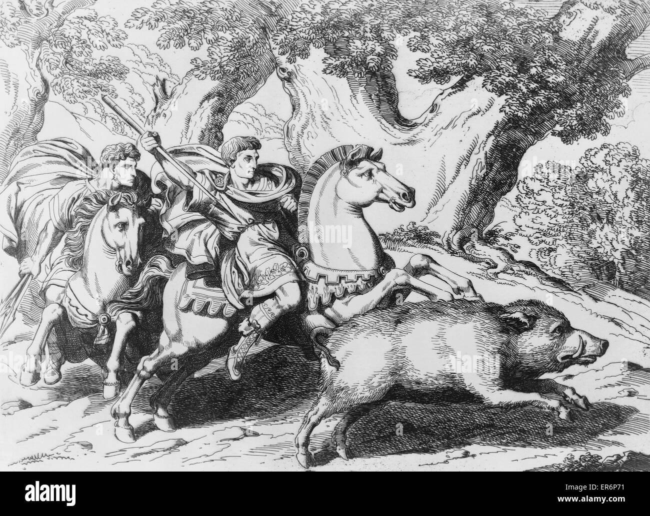 Der Kaiser Hadrian Jagd Wildschwein mit Trajan, Kaiser von Rom, auf dem Pferderücken mit Speer, Wildschwein Stockbild