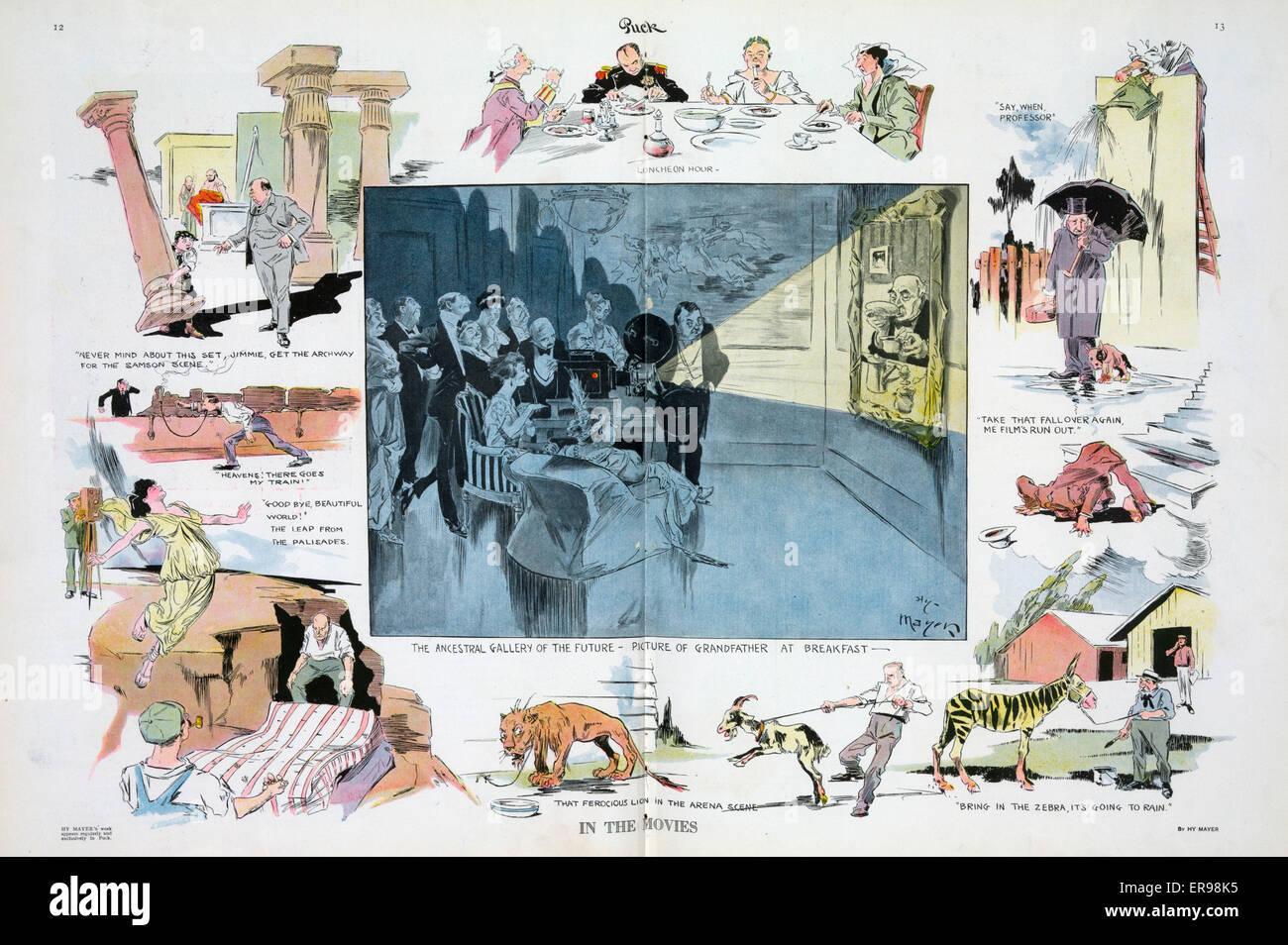 In den Filmen. Abbildung zeigt eine Vignette-Karikatur mit Szenen aus der Herstellung von Filmen; Herzstück Stockbild