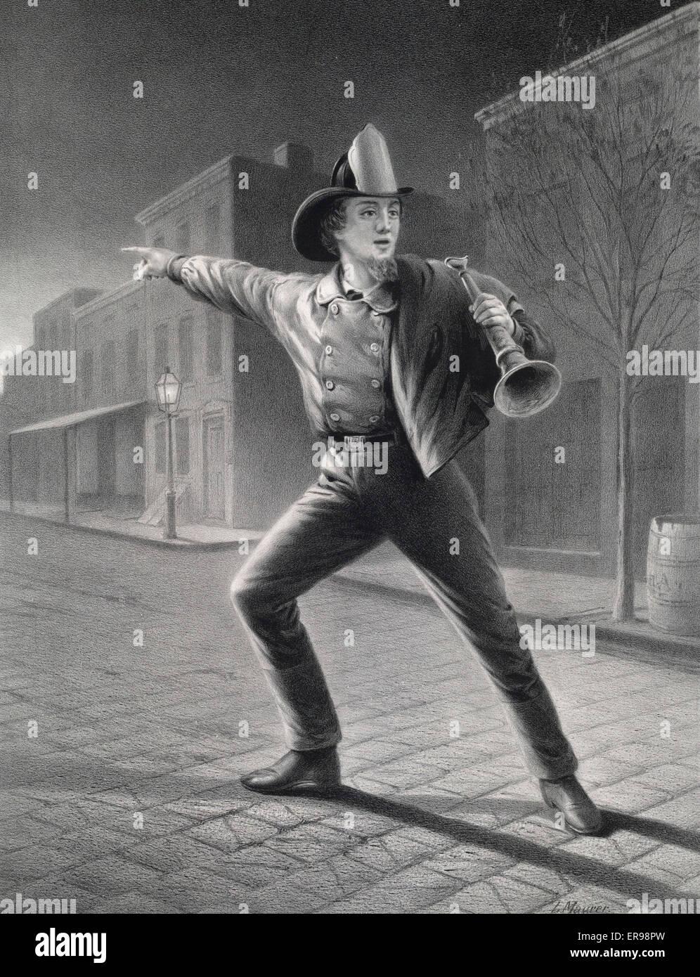 Der amerikanische Feuerwehrmann: hetzen, um den Konflikt. Datum 1858. Stockbild