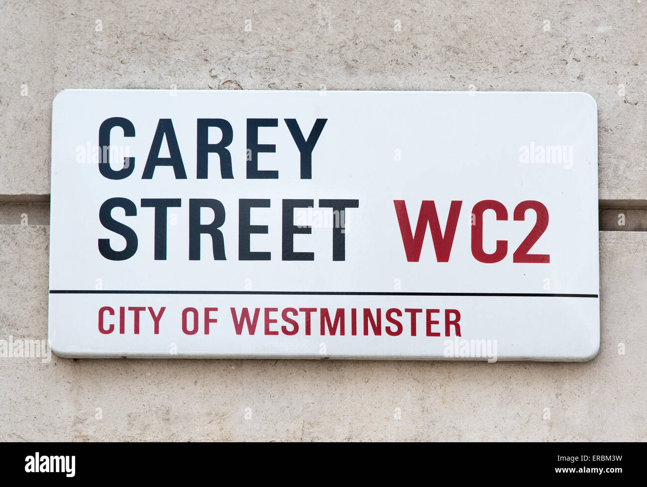 "Zeichen für Carey Street in London WC2. Einst war die Lage des Konkurs-Court.hence den Ausdruck ""in Carey Stockbild"