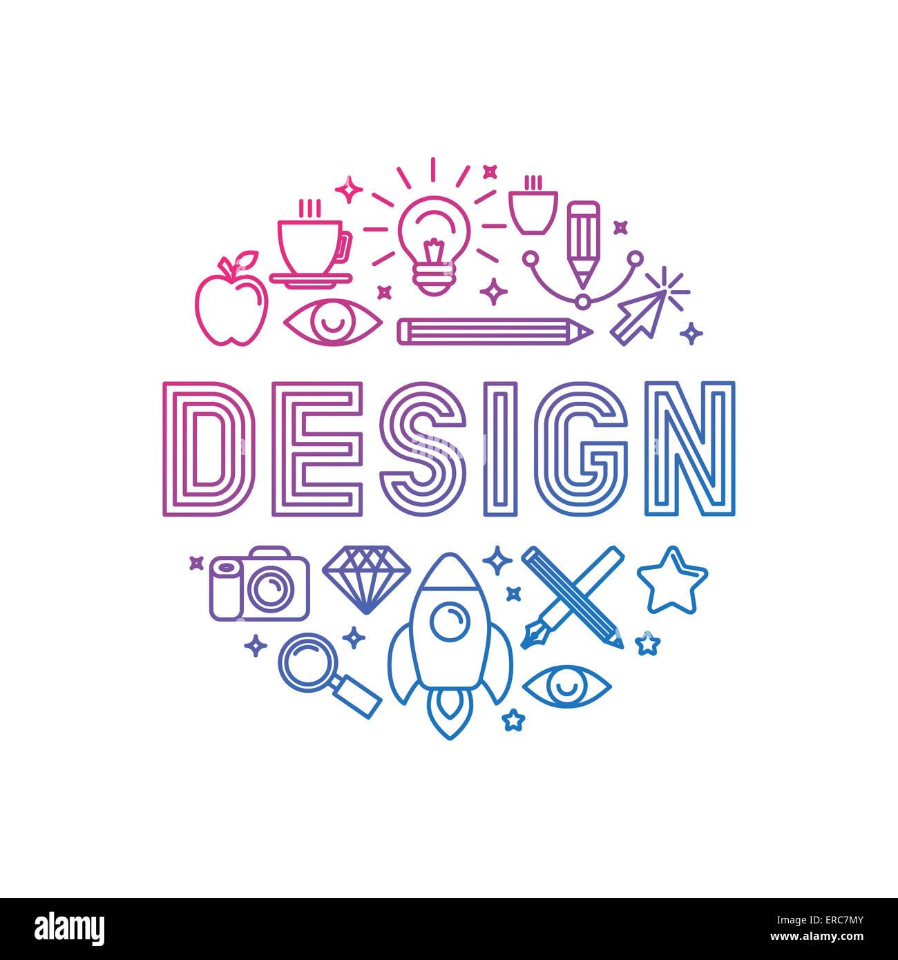 Linear-Logo-Design-Konzept - Darstellung mit Symbolen und Zeichen im Zusammenhang mit Grafik-Design und kreativen Stockbild