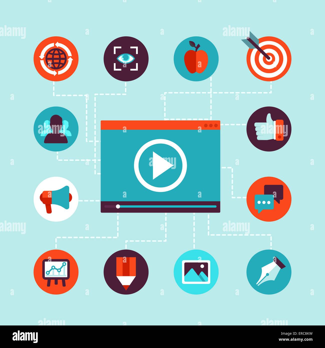 Video Marketing-Konzept im flachen Stil - video-Player und Werbung Icons - Infografiken design element Stockbild