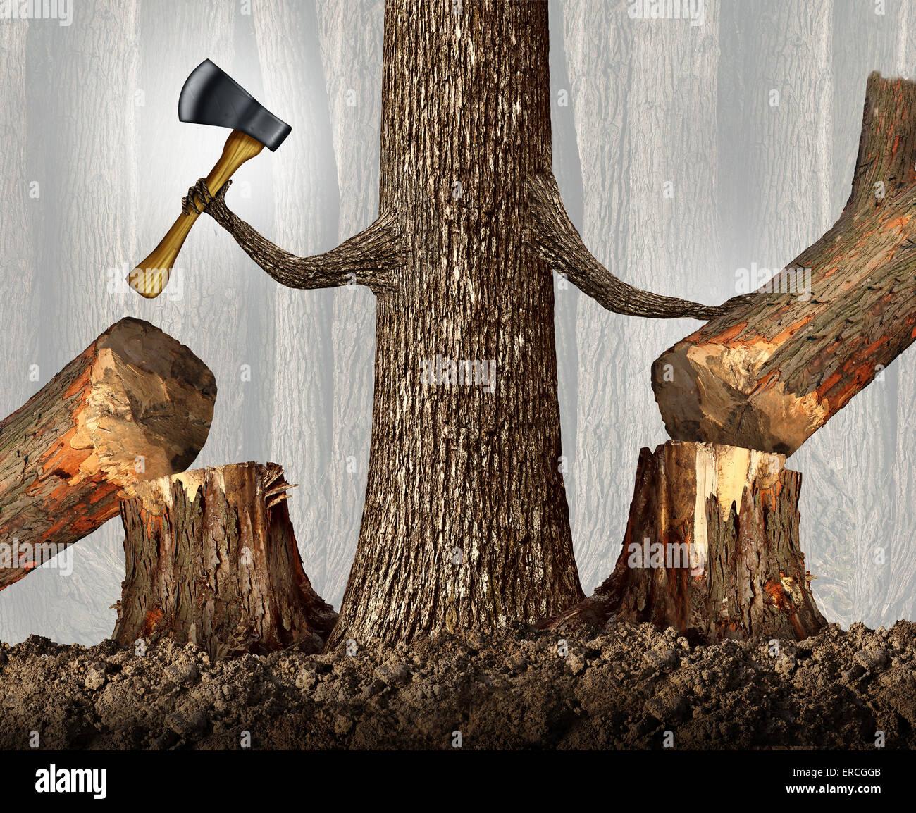 Wettbewerbsstrategie Konzept als rücksichtslose Baum Ausschaltung des Wettbewerbs durch Abholzen sie als eine Stockbild