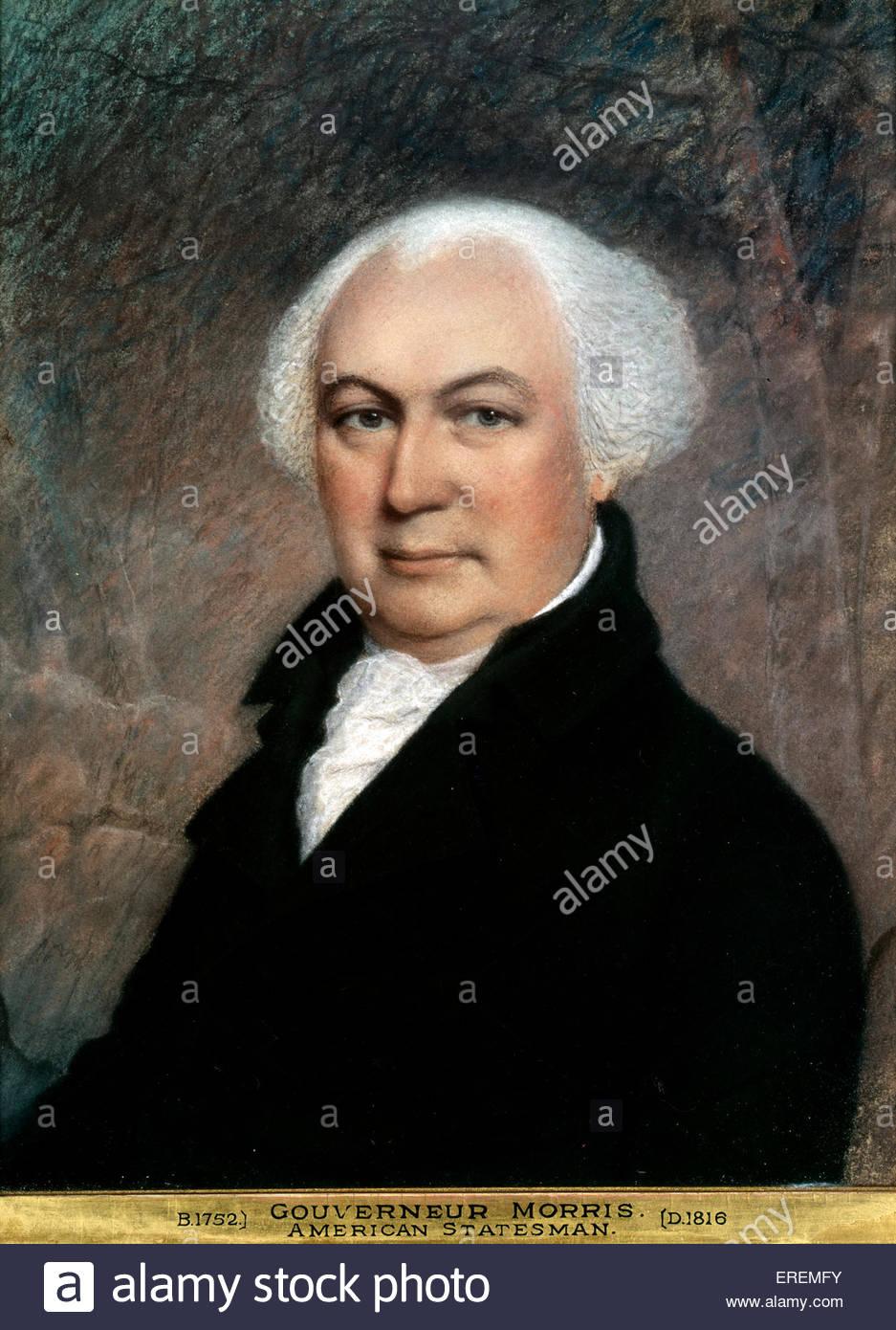Gouverneur Morris von James Sharples. Amerikanischer Staatsmann, Gründervater und Autor der Abschnitte der Stockbild