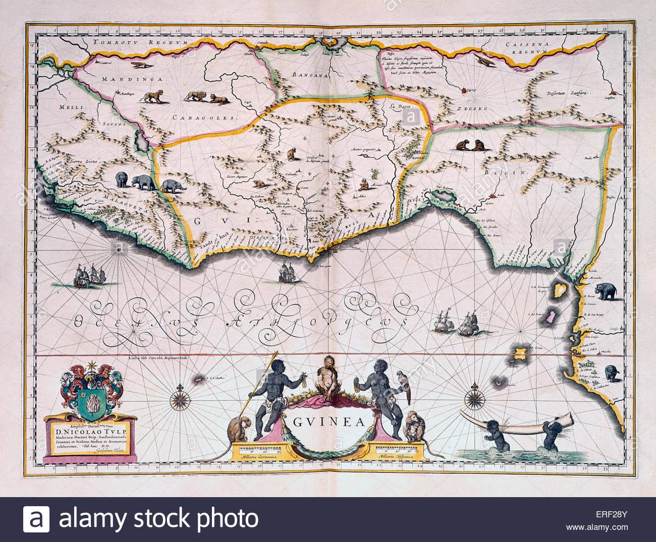 Karte von niederländischen Guinea von Joan Blaeu, Sohn von Willem Blaeu. Autor, Vater des Atlas Novus (1635) Stockbild