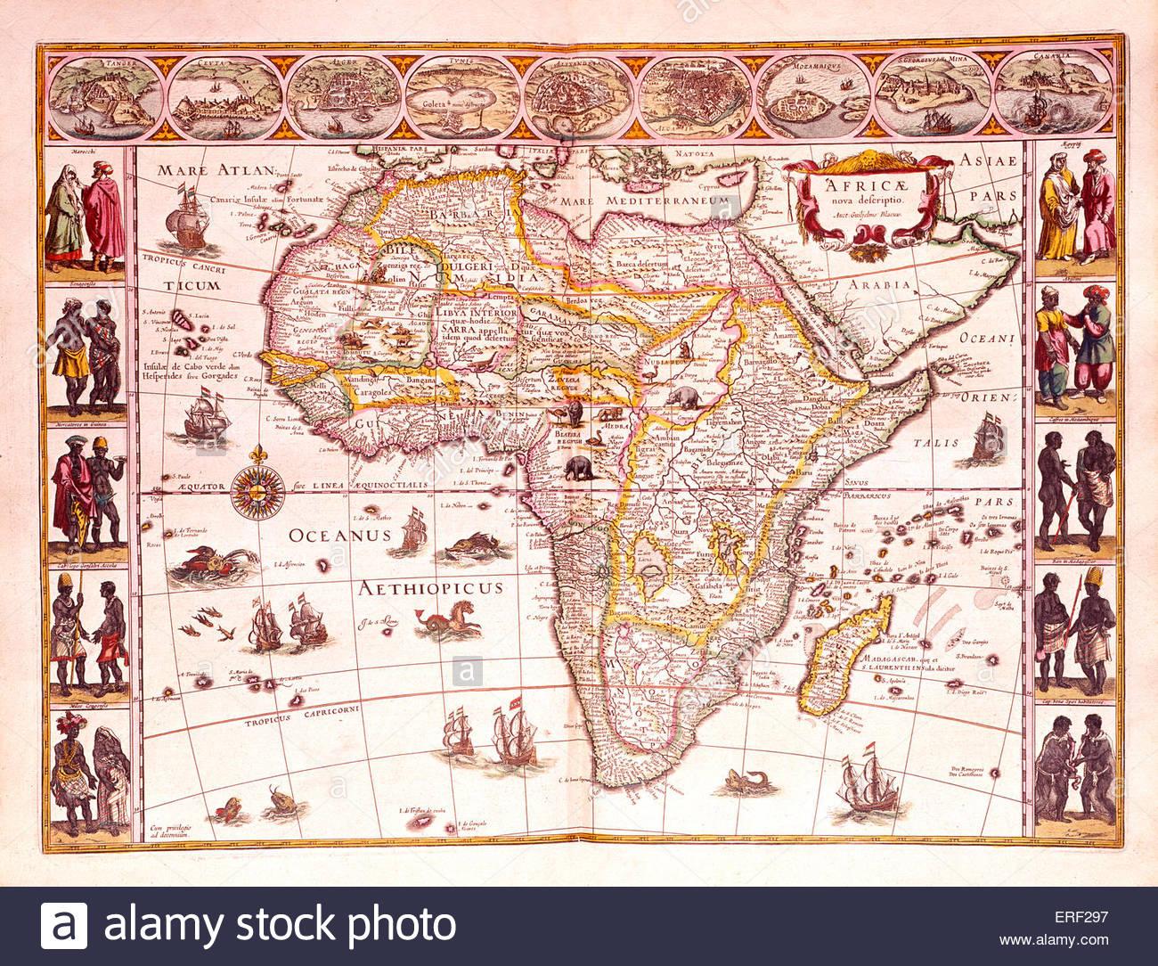 """'Karte der Africae""""- von der Joan Blaeu 'nimmt Atlas, Oft Werelt Beschryving'.  Karte datiert 1665. Stockbild"""