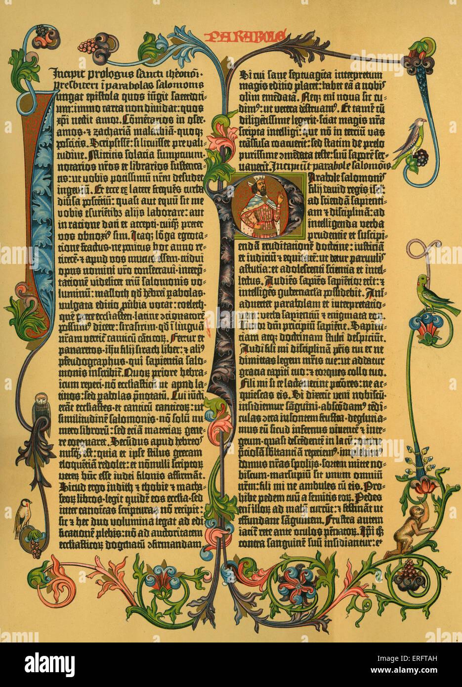 """Kommentar zu Salomos """"Gleichnisse"""" aus Gutenbergs lateinische Bibel, c. 1453-1456. Stockbild"""