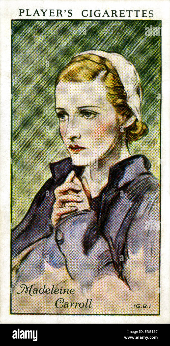 Madeleine Carroll, britische Schauspielerin.  26. Februar 1906 ? 2. Oktober 1987. (Zigarette Spielerkarte). Stockbild