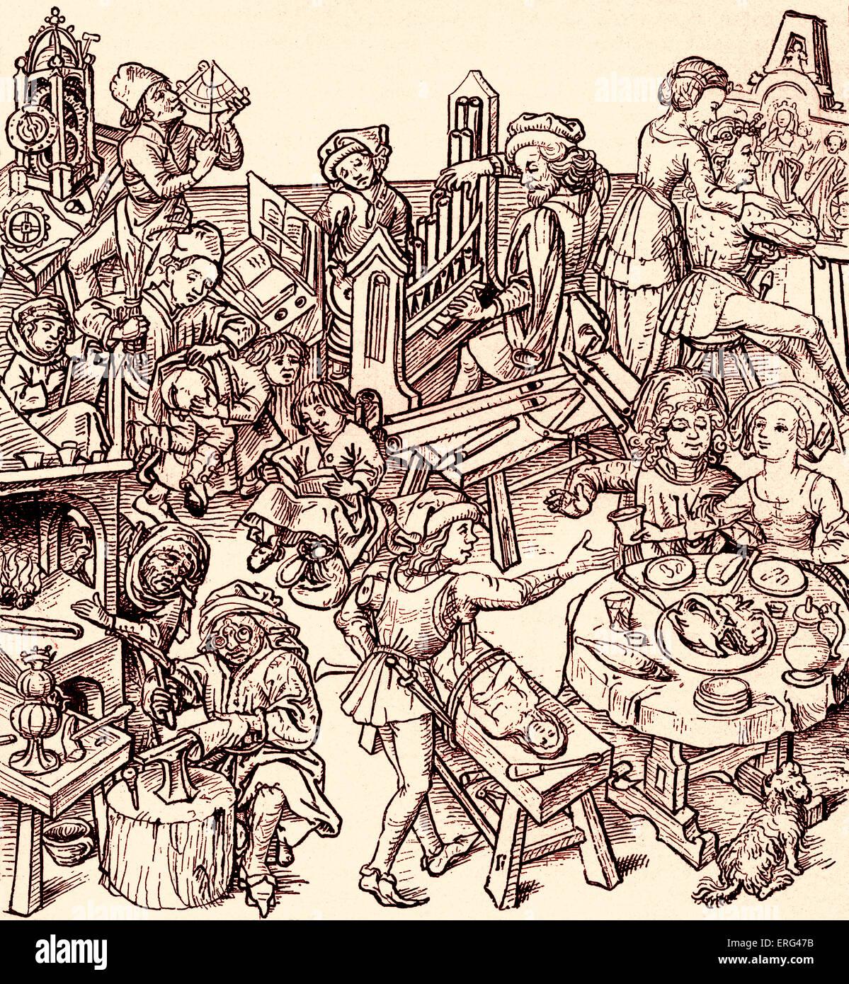 Häusliche Leben des sechzehnten Jahrhunderts, einschließlich Szenen des Speisens, Handwerker, die ihr Stockbild