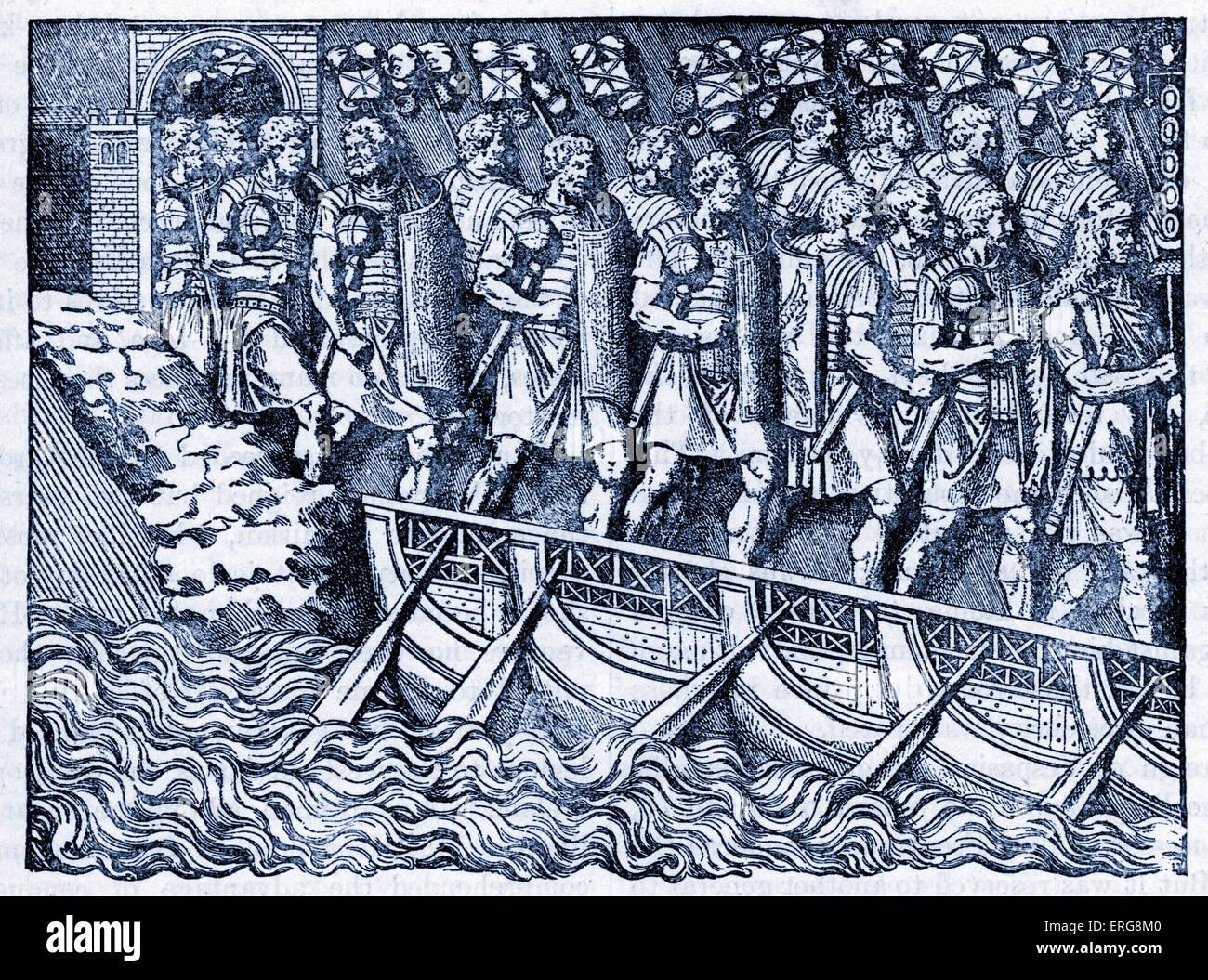 Trajanssäule, Rom, Italien - Abbildung. Römische Soldaten vorbei über eine Brücke der Boote. Stockbild