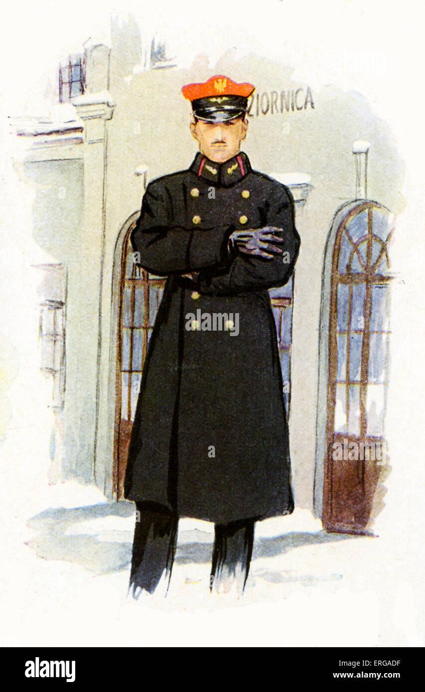 Bahnpersonal Uniformen, 1920-30: polnische Bahn Bahnhofsvorsteher Stockbild