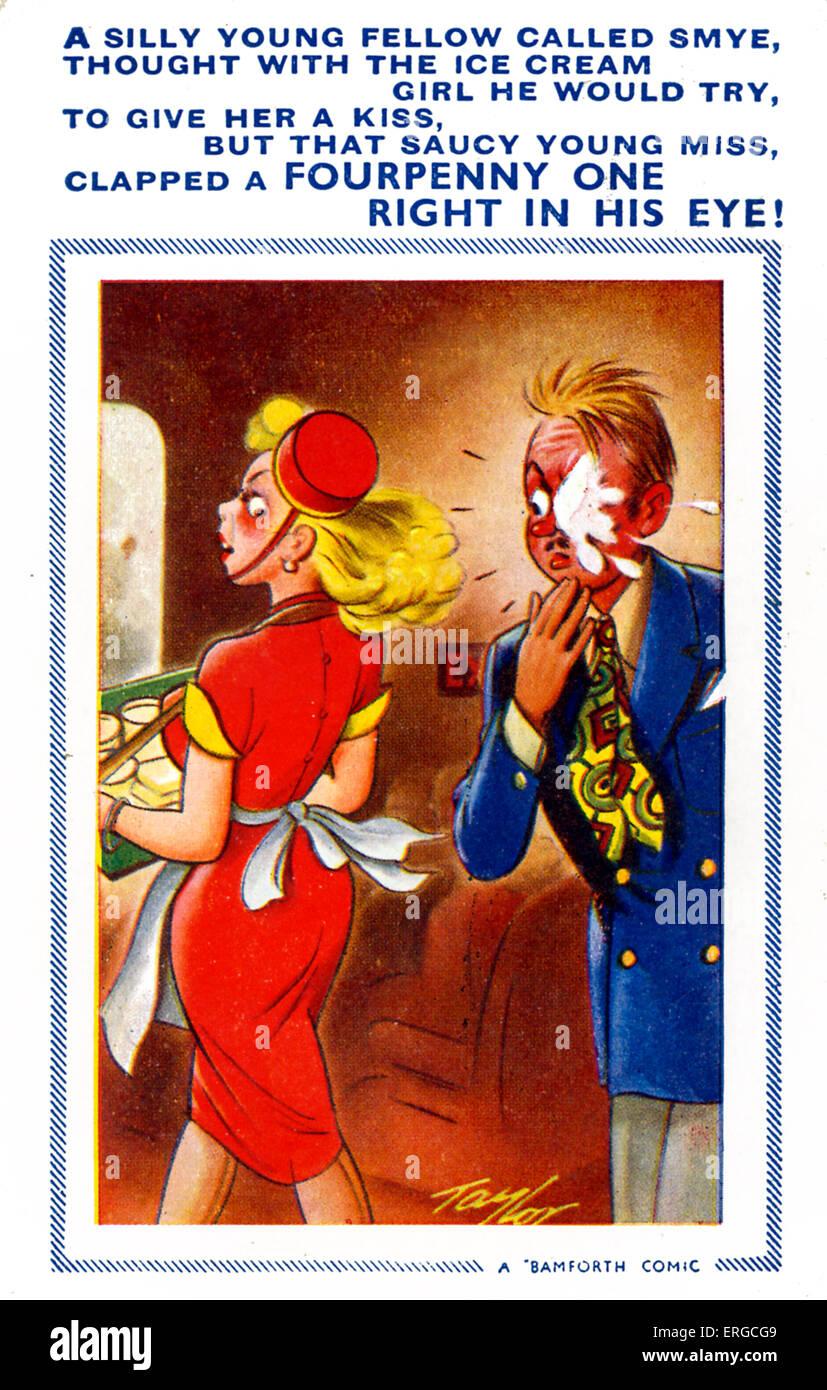 """Britische humorvolle Postkarte - 1950er Jahre. Mit Limerick: """"ein dummer junge Kerl namens Smye / Thgoutyh Stockbild"""