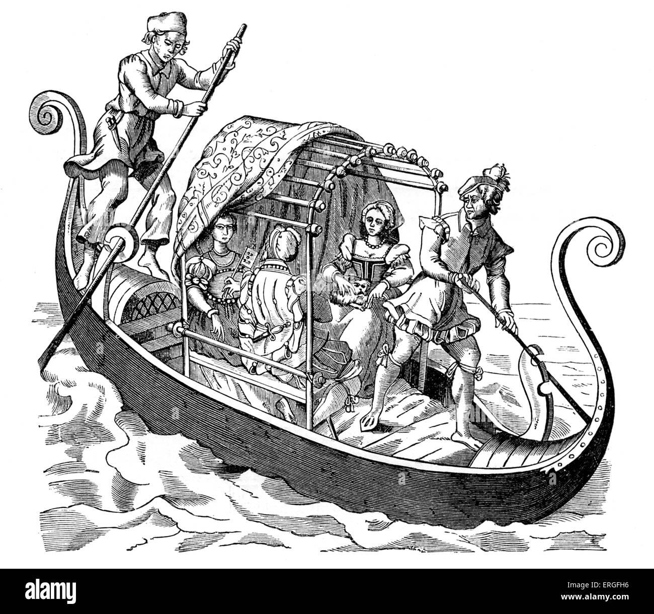 """Venezianische Gondel - zugeschrieben Jost Amman aus """"The Grand Prozession der Doge von Venedig"""". Veröffentlicht Stockbild"""