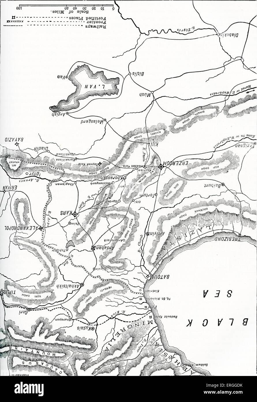 Russo - türkischer Krieg: Sitz des Krieges in Armenien. Konflikt zwischen dem Osmanischen Reich und der östlich Stockbild