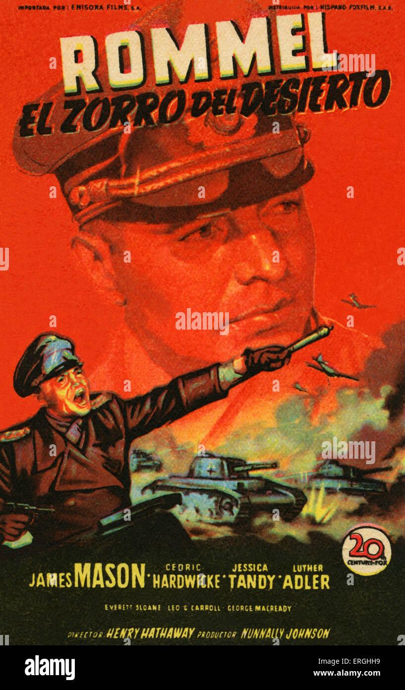 "Rommel, der Wüstenfuchs - 1951 Film (spanische Plakat: ""Rommel, El Zorro del Desierto""). Unter der Stockbild"