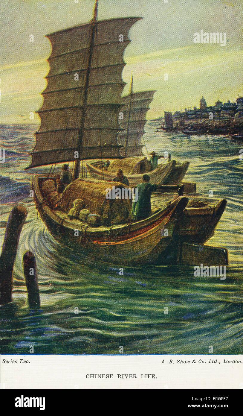 Chinese junk Schiffe beladen mit Menschen und Gütern. Stockbild