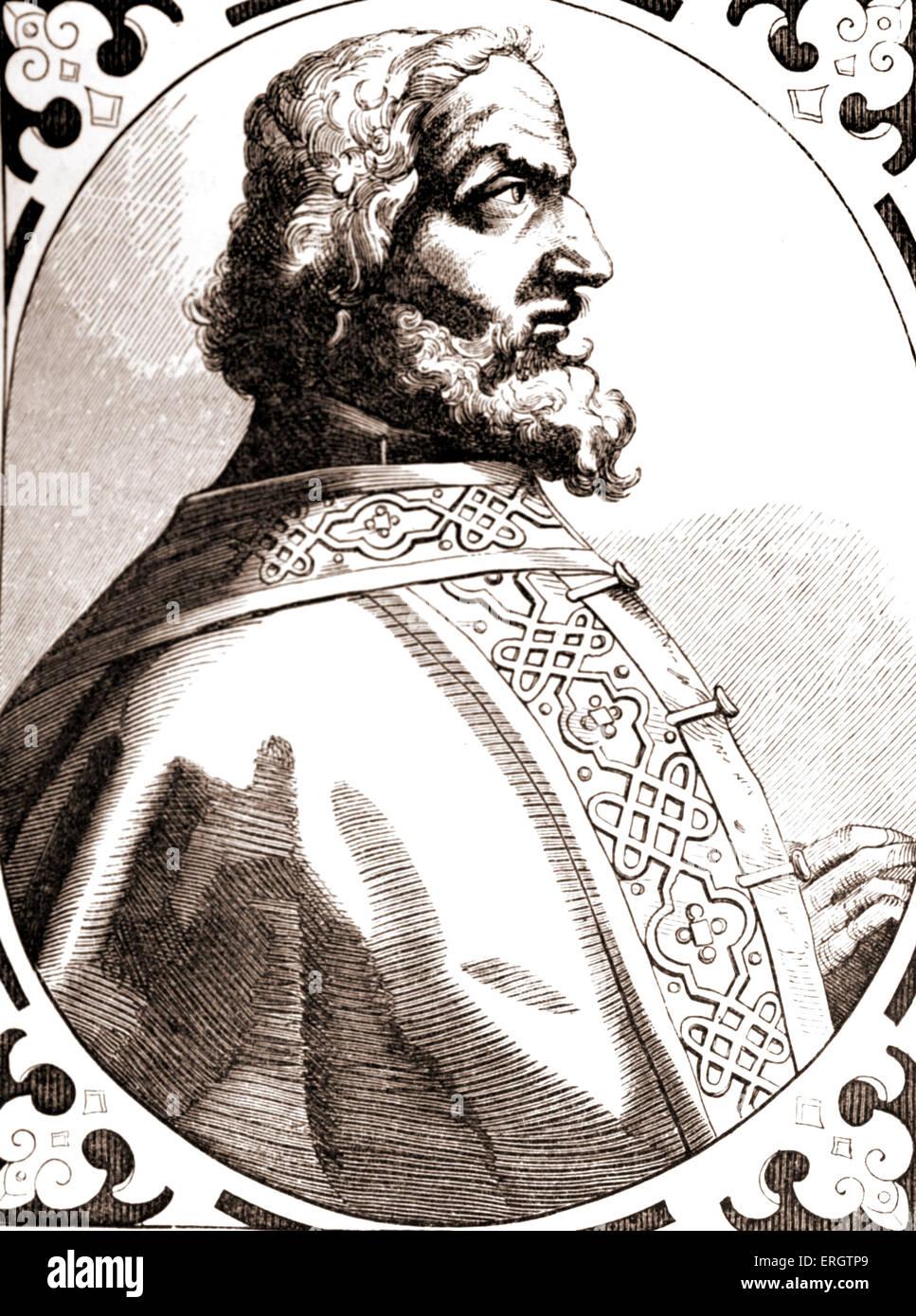 Karl der große (lateinisch: Carolus Magnus, d. h. Karl der große)-Portrait des Königs der Franken. Stockbild