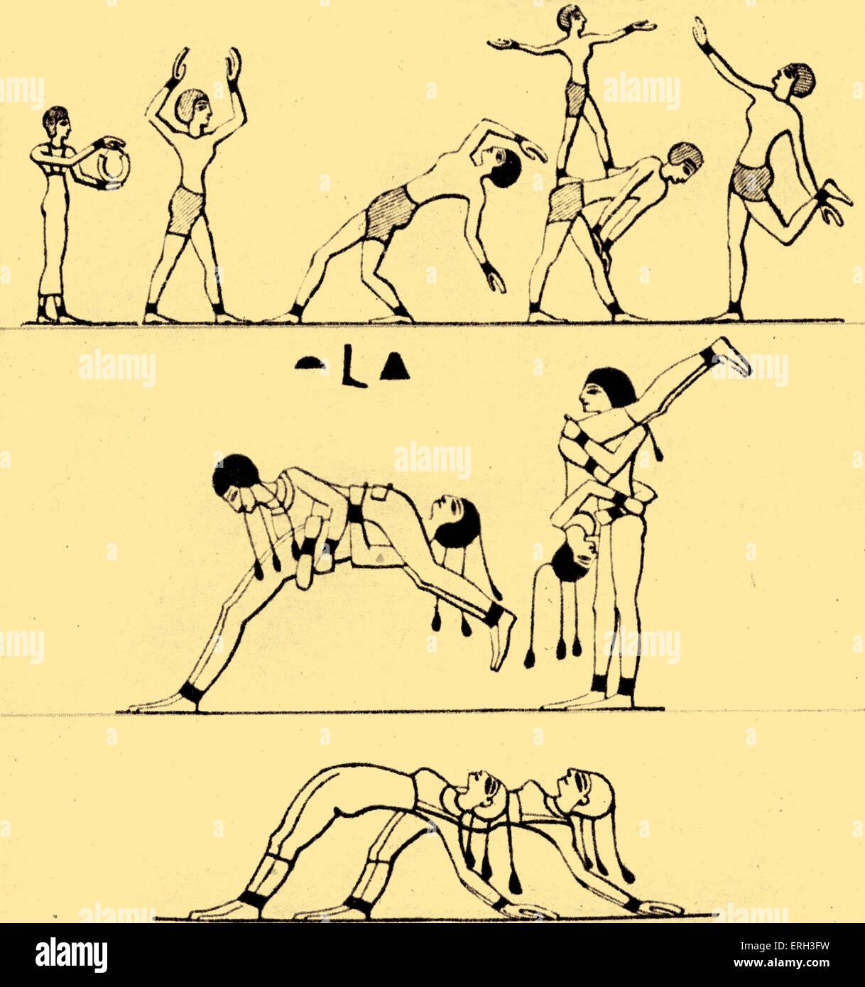 Alte ägyptische Becher / Akrobaten darstellende Akrobatik.  Stich nach einem ägyptischen Fresko. Stockbild