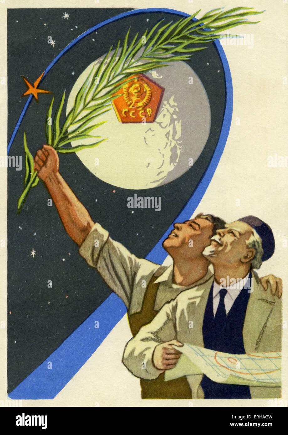 Sowjetische Arbeiter und Ingenieure in der Wettlauf ins All. Die ersten künstlichen Erdsatelliten Sputnik wurde Stockbild