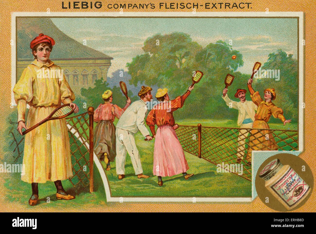 Eine Übereinstimmung des Rasentennis.  Liebig-Karte, Sport, 1896. Stockbild