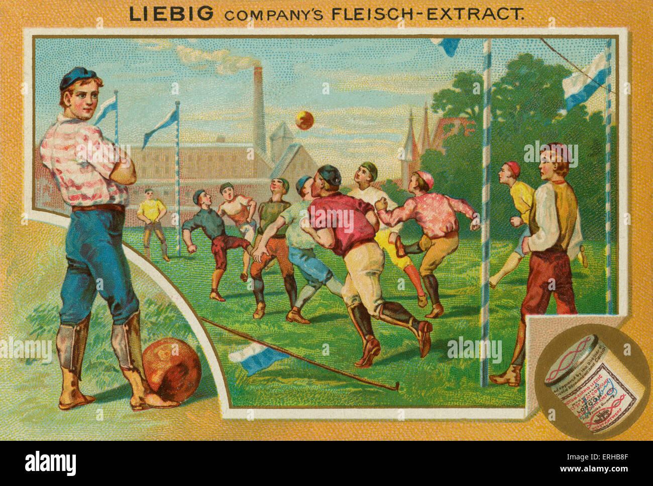 Ein Fußballspiel.  Liebig-Karte, Sport, 1896. Stockbild