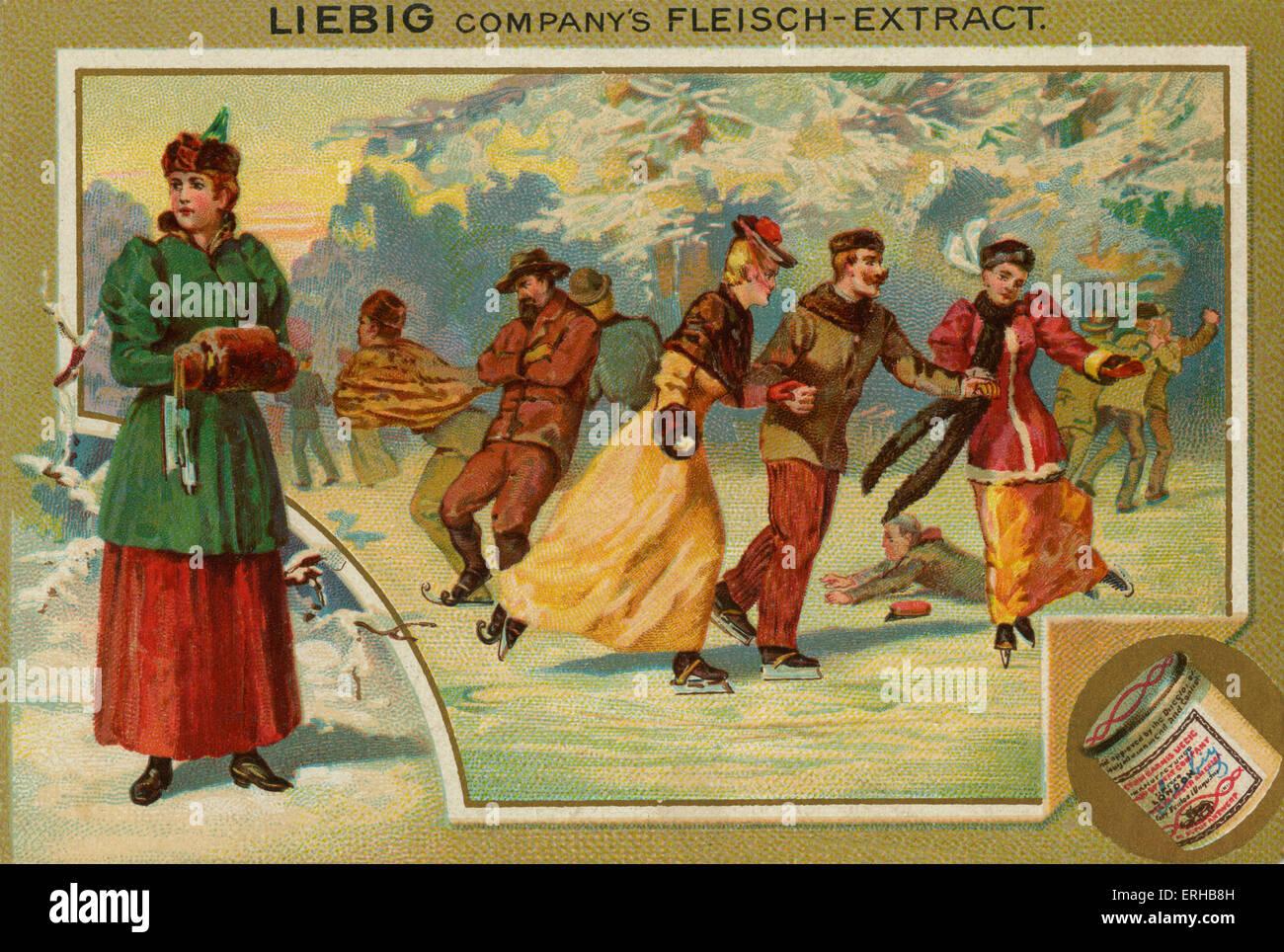 Eislaufen auf einem zugefrorenen See. Liebig-Karte, Sport, 1896. Stockbild