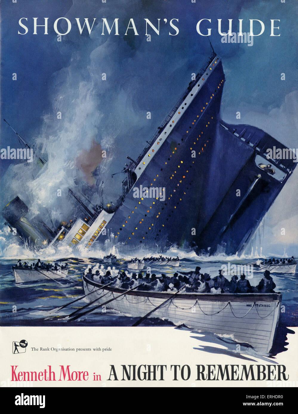 """Titanic-Untergang auf dem Cover der Schausteller Guide für den Rank Organisation-Film """"A Night to remember"""" Stockbild"""