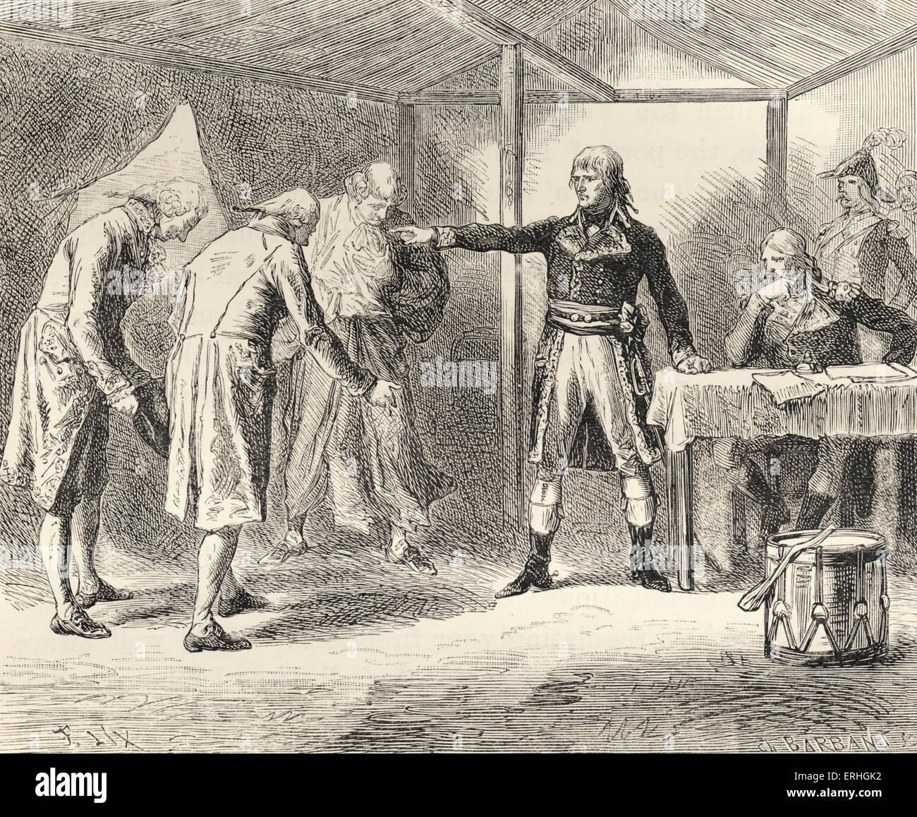 Eines venezianischen Senat Gesandten geschickt, um Napoleon Bonaparte, die Ursache von Venedig als neutraler Staat Stockbild