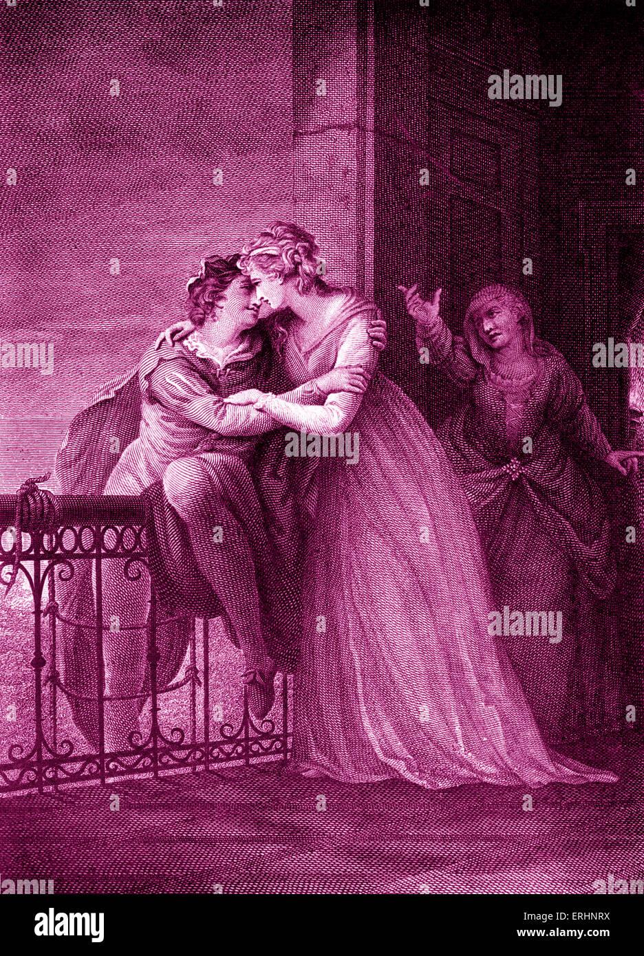 William Shakespeares Romeo und Julia - Akt III, Szene V. Romeo, Juliet und Krankenschwester in Julias Zimmer zu Stockbild