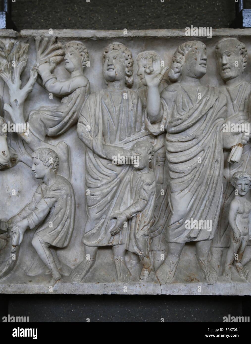 Römischer Sarkophag. Frühchristliche. 4. c. Detail. Jesus Heilung blinden Mann. Vatikanischen Museen. Stockbild