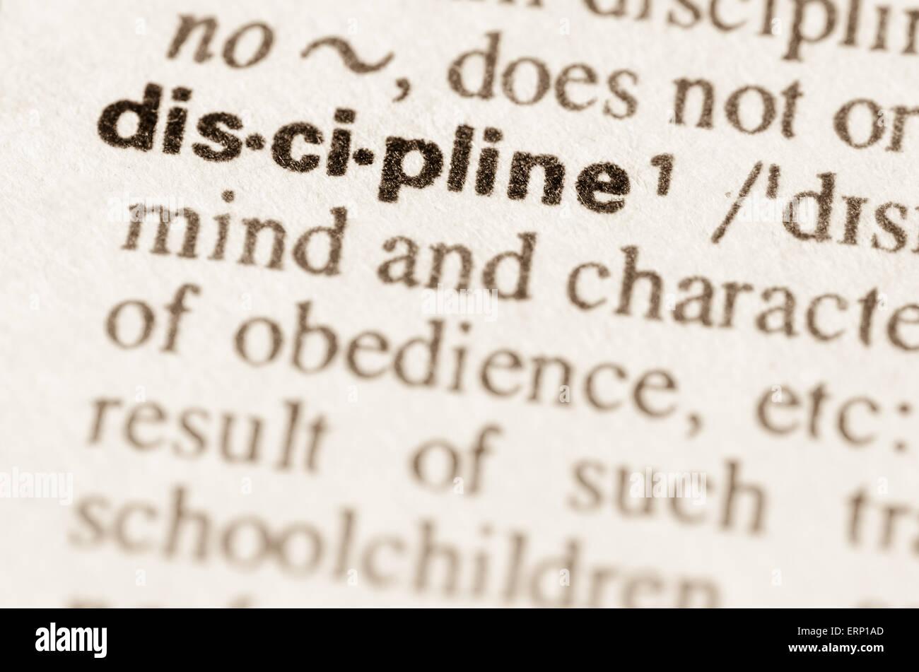 Definition des Wortes Disziplin im Wörterbuch Stockbild