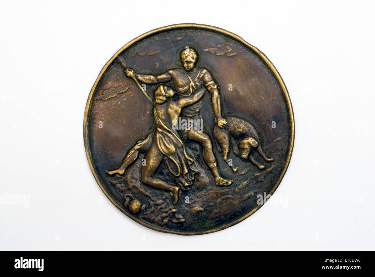 Romeo und Julia-Liebhaber auf Medaille Stockbild