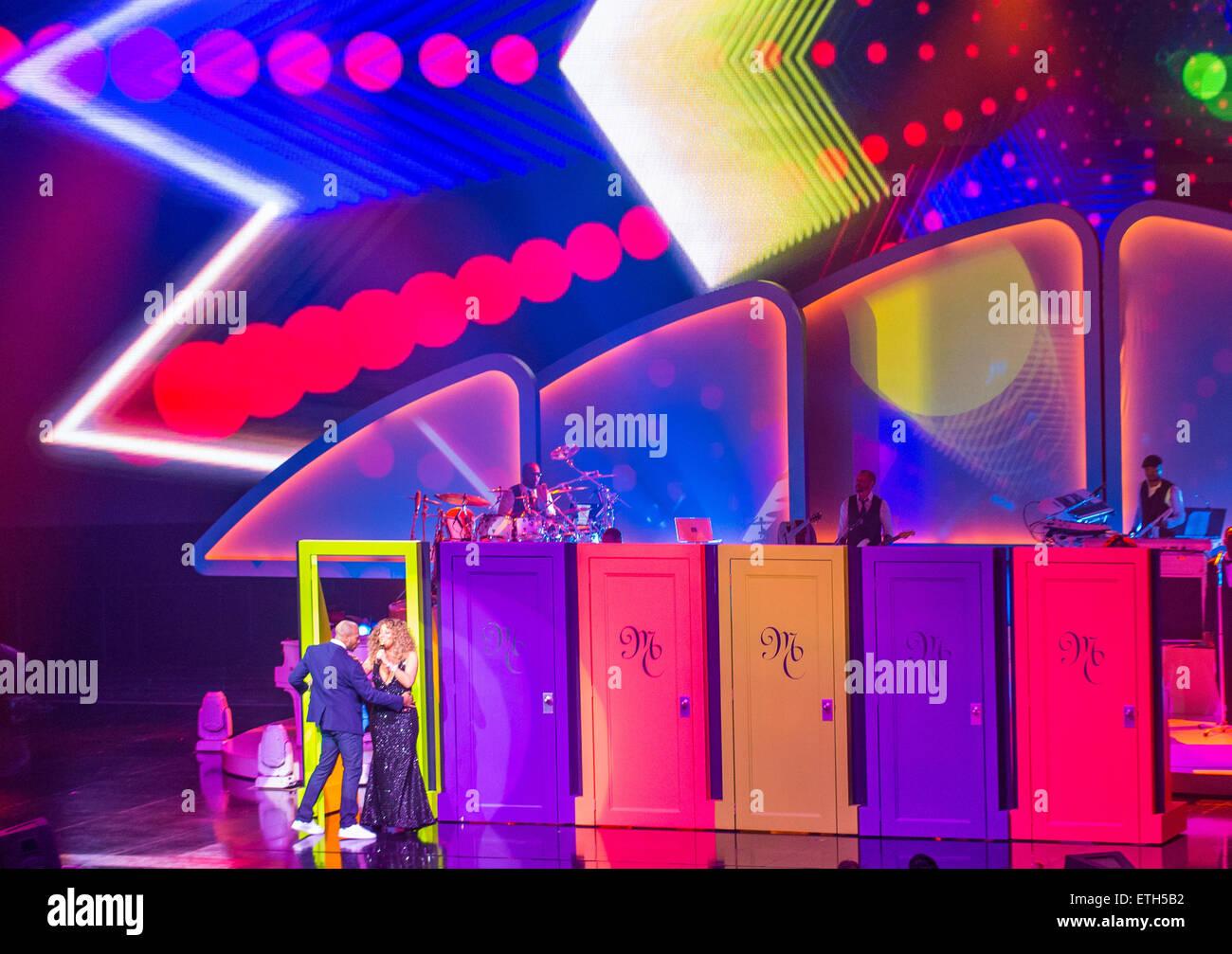 Sängerin Mariah Carey führt beim Start ihrer Residency MARIAH 1 bis unendlich in Las Vegas Stockbild