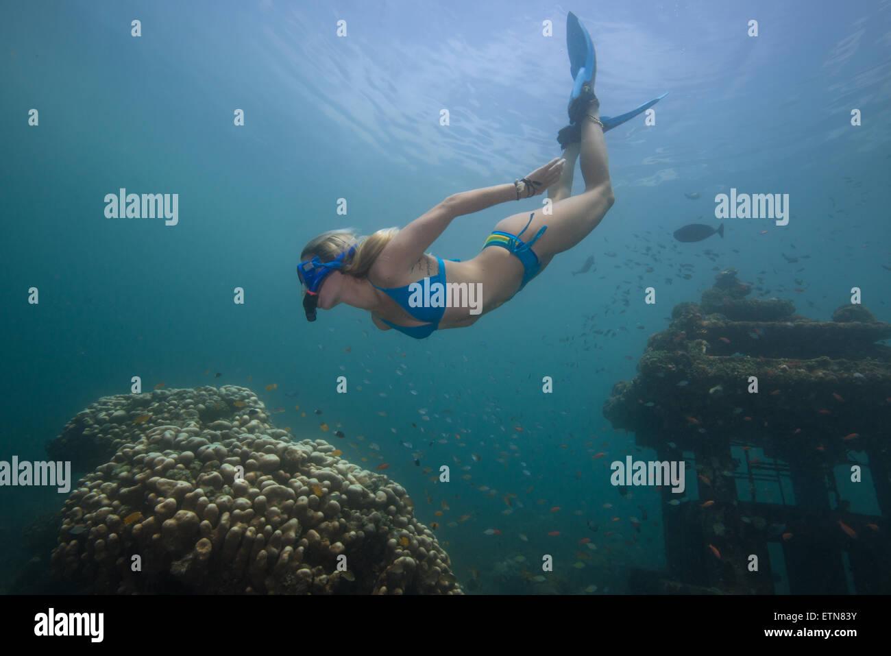 Frau Schnorcheln und erkunden Sie eine versunkene Tempel und Korallenriff, Bali, Indonesien Stockbild