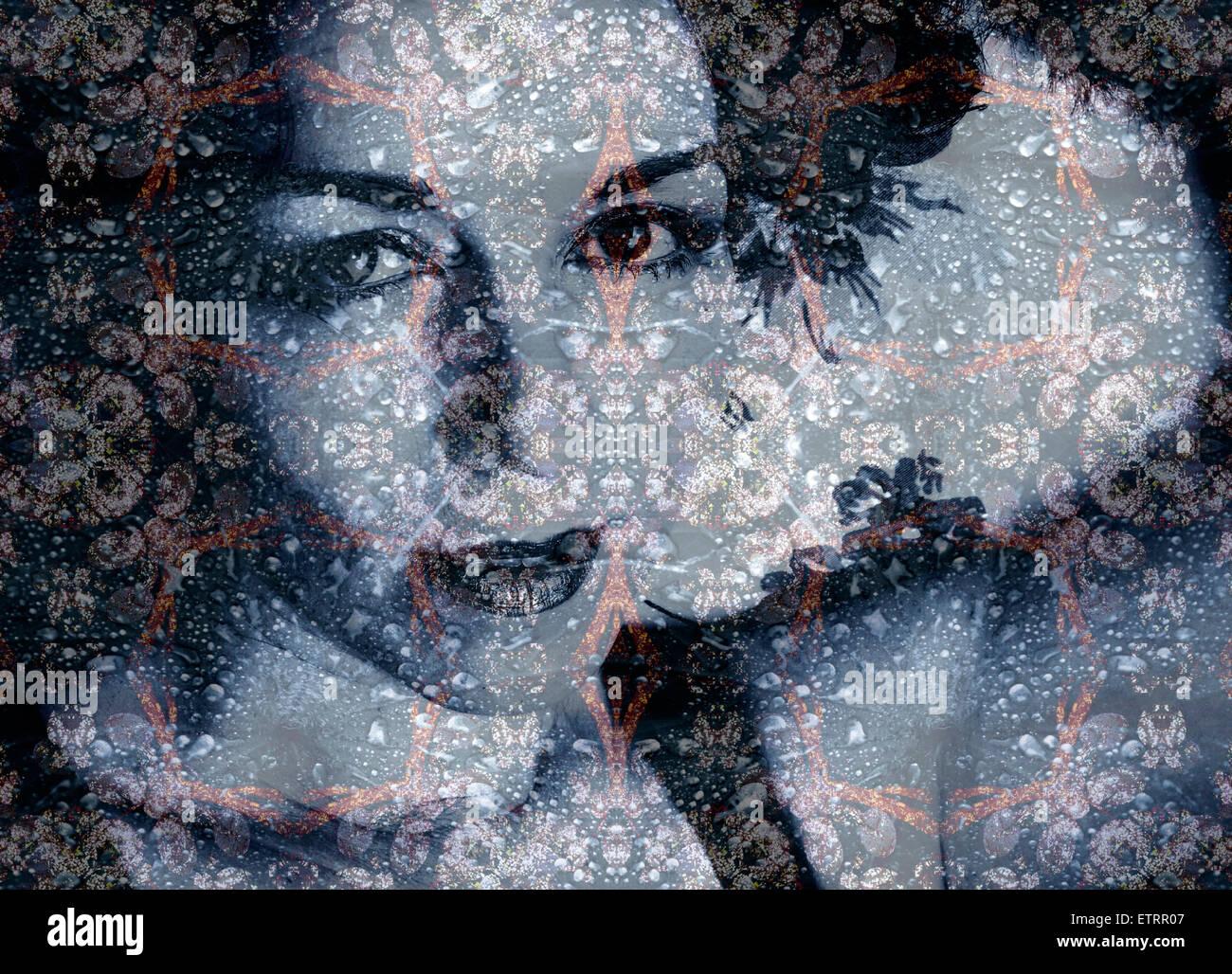 eine Montage eines Portraits mit Ornamenten aus Wasserspiegelungen in Reserded Farben Stockbild
