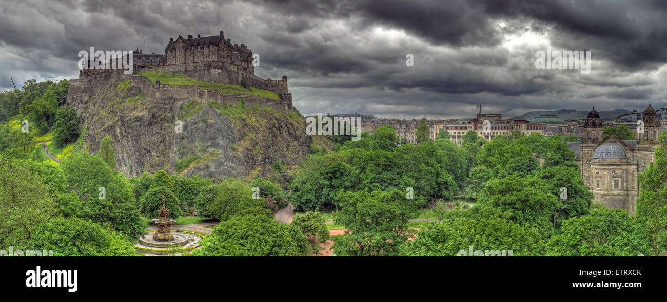 Laden Sie dieses Alamy Stockfoto Panorama von Edinburgh Castle auf dem Mound, Schottland, UK - ETRXCK