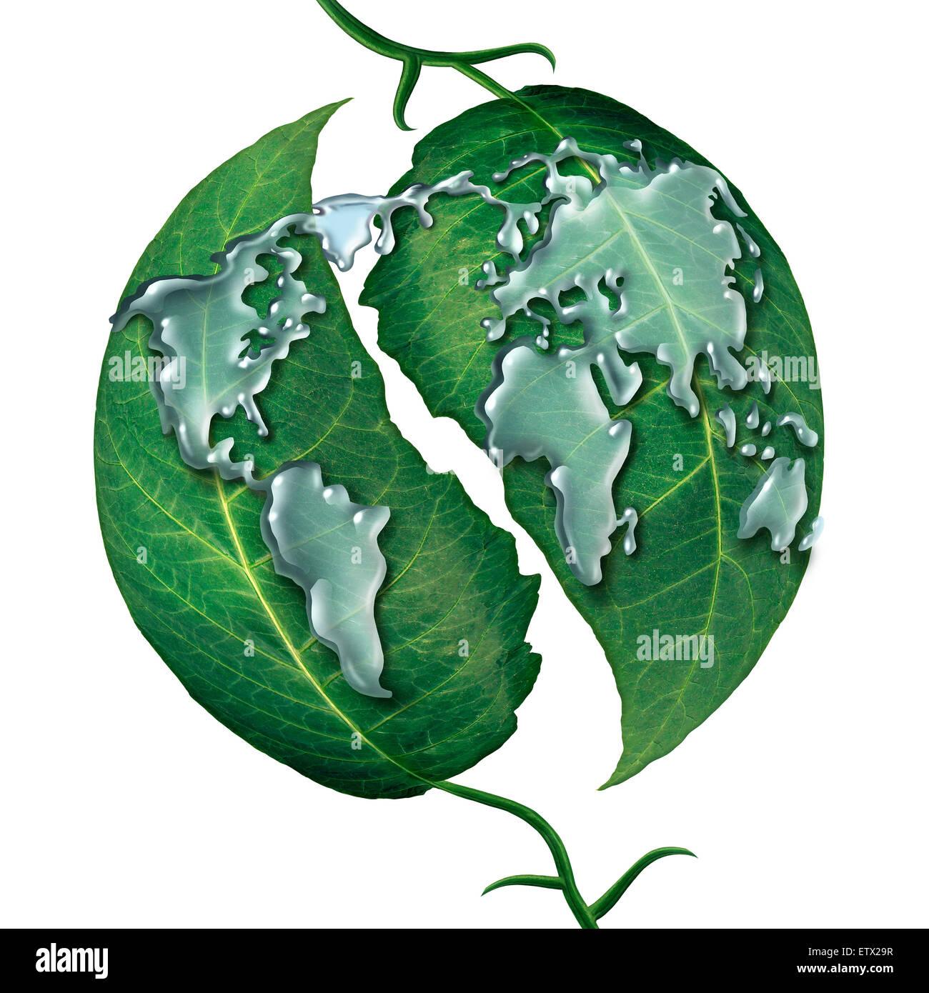 Welt Blatt Wasser Tropfen Konzept als eine Gruppe von flüssigen Regentropfen geformt, wie die Karte von der Stockbild