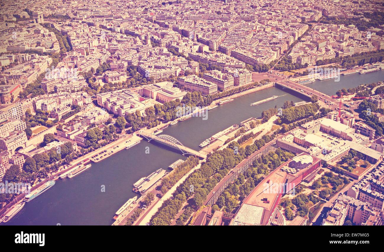 Retro getönten Panorama von Paris, Frankreich. Stockbild