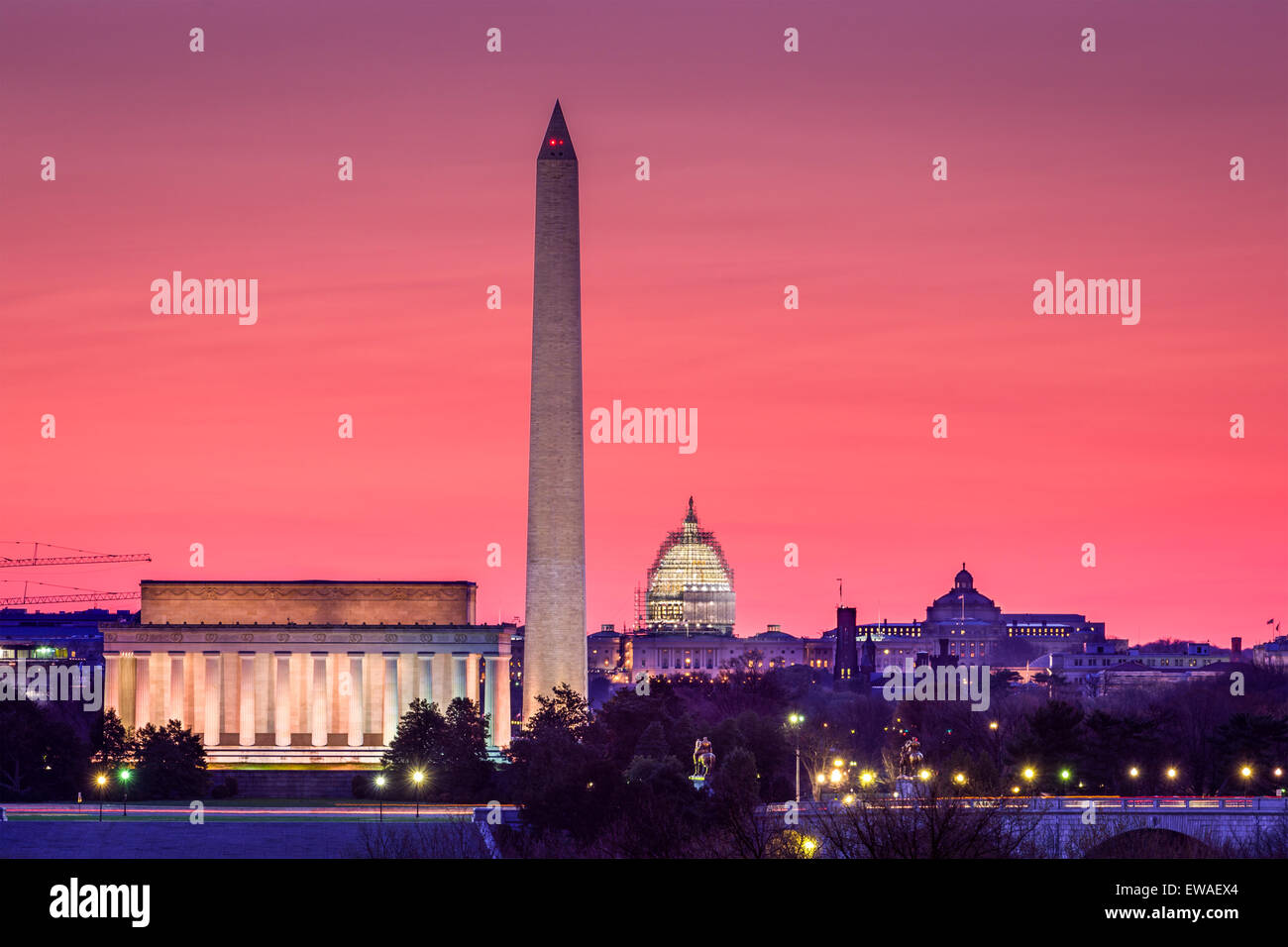 Skyline von Washington DC, USA. Stockbild