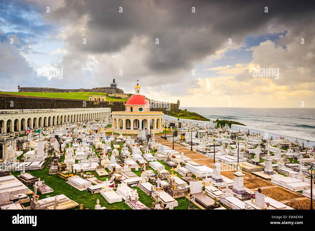 San Juan, Puerto Rico historischen Friedhof von Fort San Felipe Del Morro. Stockbild