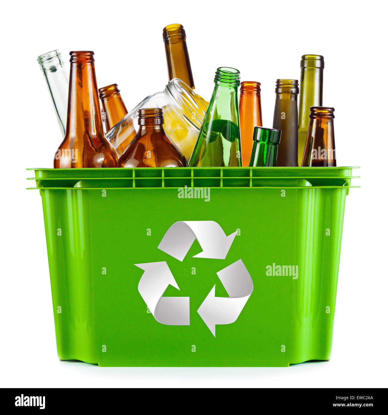 Recycling-Konzept - bin voll von Glas Stockbild