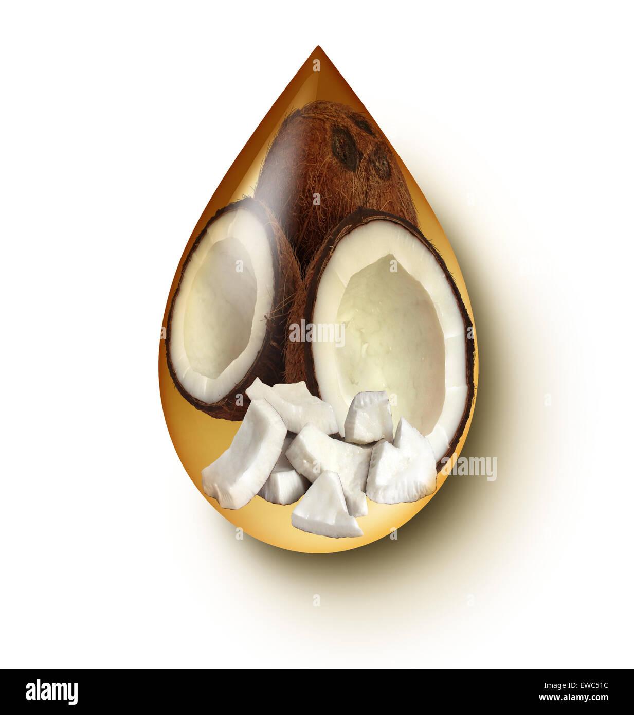 Kokosöl Flüssigkeitstropfens Konzept auf einem weißen Hintergrund als Wellness-Symbol und Ikone der Stockbild