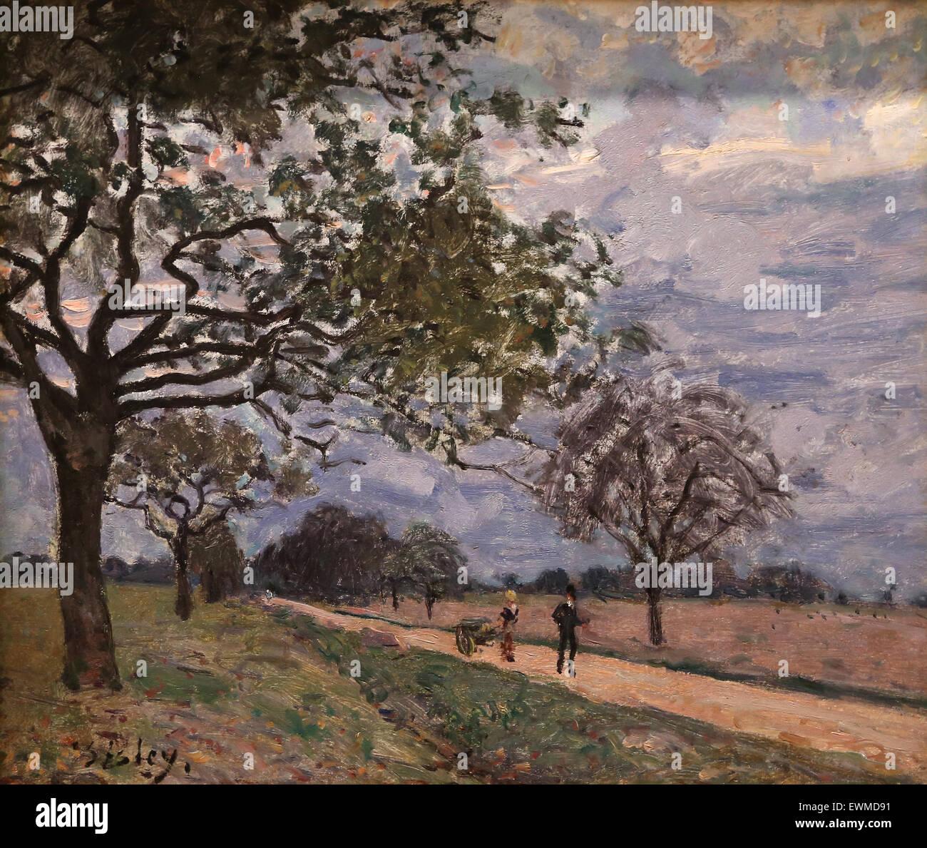 Alfred Sisley (1839-1899). Französischer Maler. Die Straße von Versailles nach Louveciennes. Probaby, Stockbild
