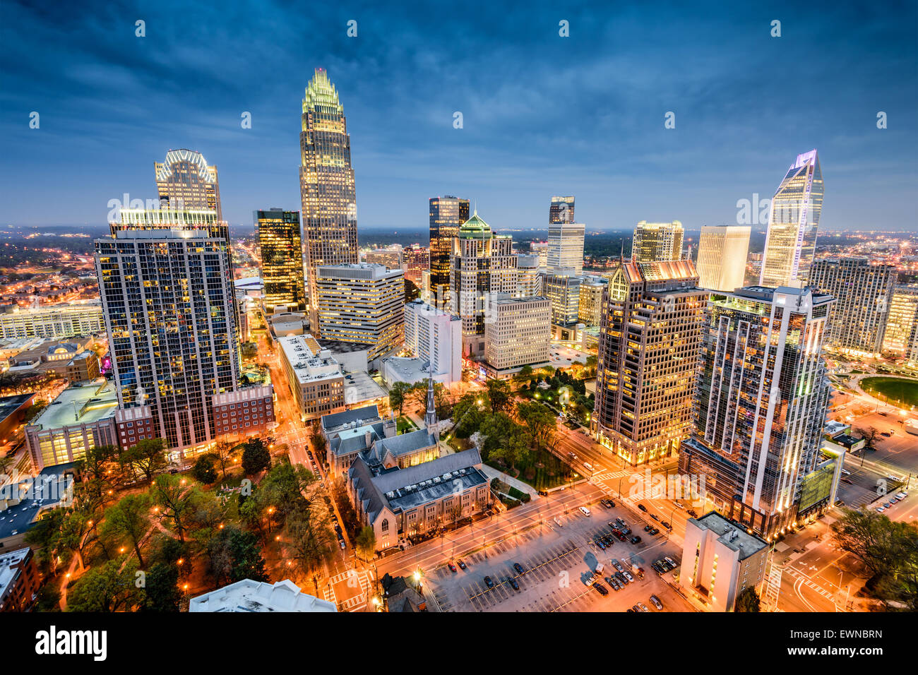 Charlotte, North Carolina, USA uptown Stadtbild. Stockbild