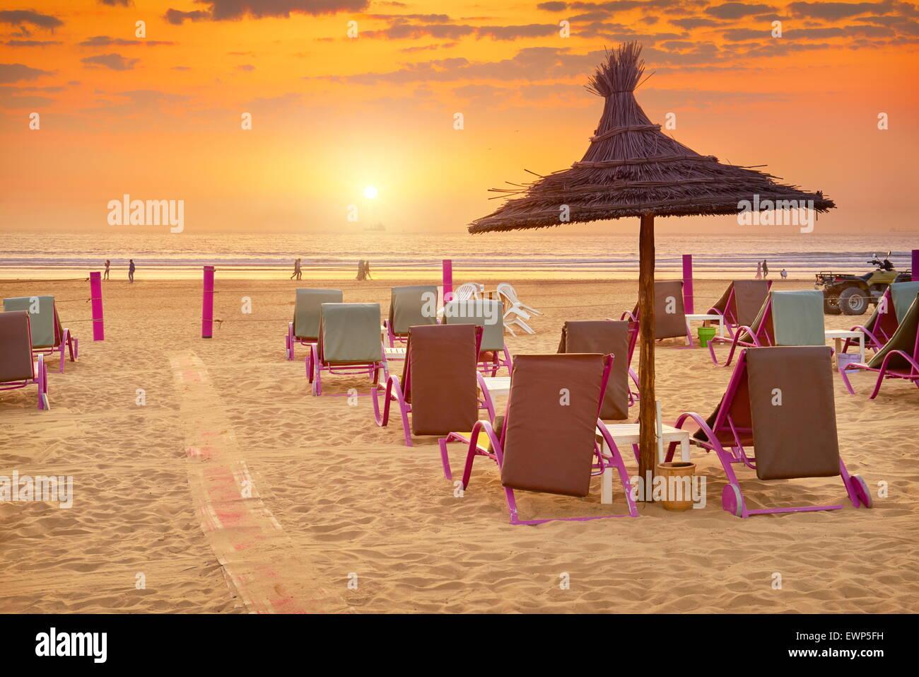 Agadir - Sonnenuntergang am Strand, Marokko Stockbild