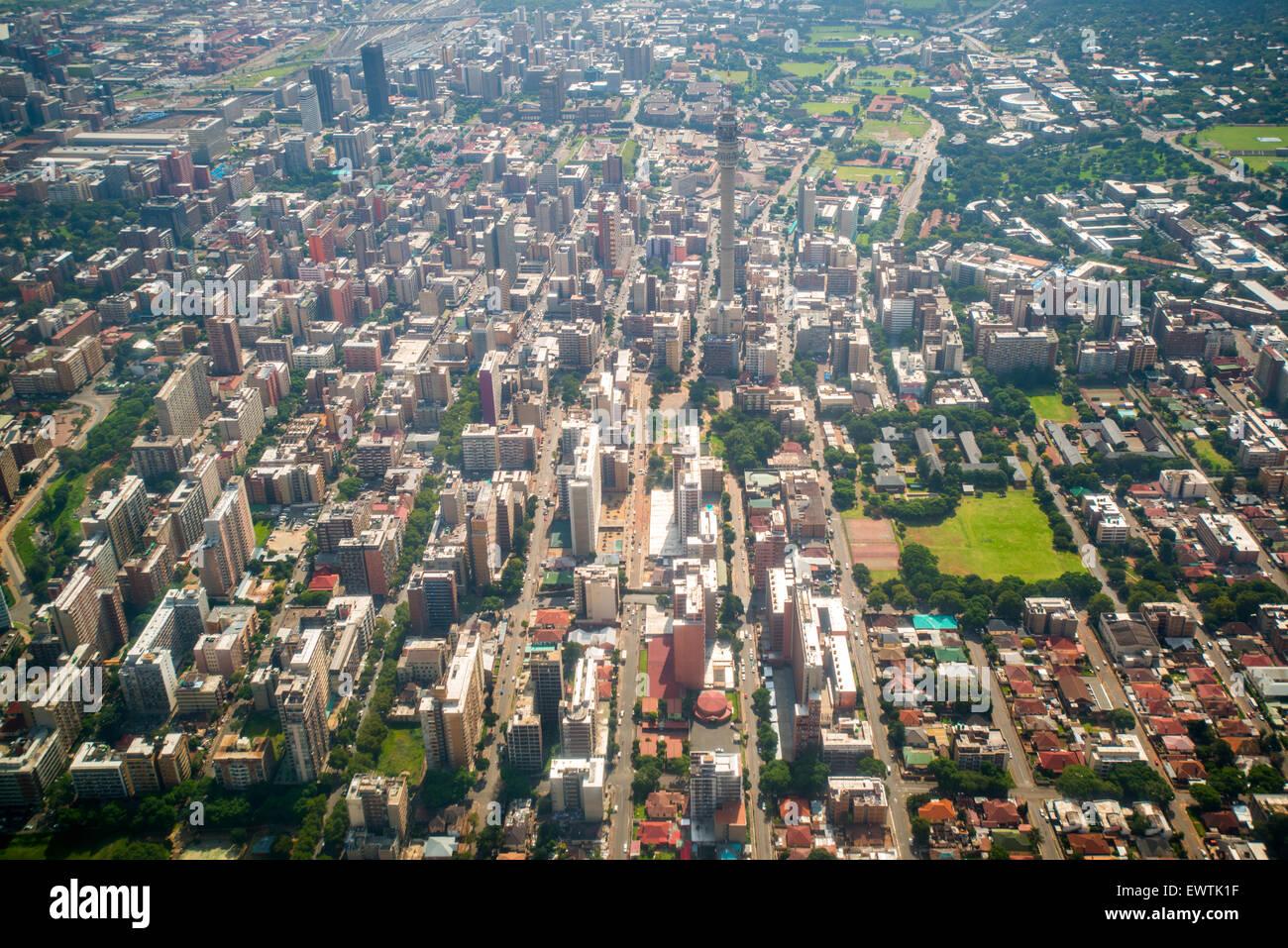 Südafrika - Luftbild von Johannesburg Stockbild
